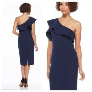 Maggy London One Shoulder Navy Dress Size 8 NWT